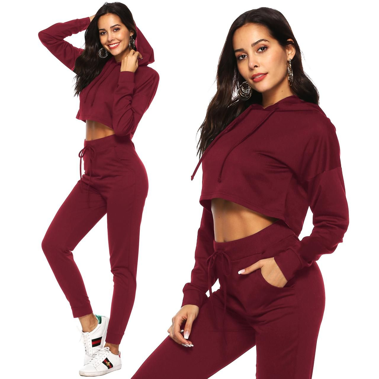 Women Tracksuit Autumn Winter Casual Hooded Crop Top Long