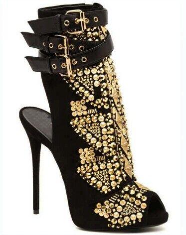 Cut Out Studded Pumps Ankle Boots Heels Designer Celebrity