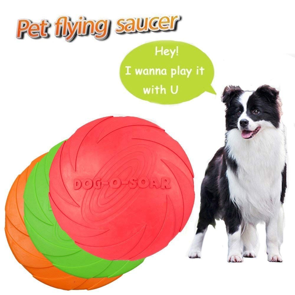 Dog Frisbee Toy Pet Training Cyber Rubber Flying Saucer