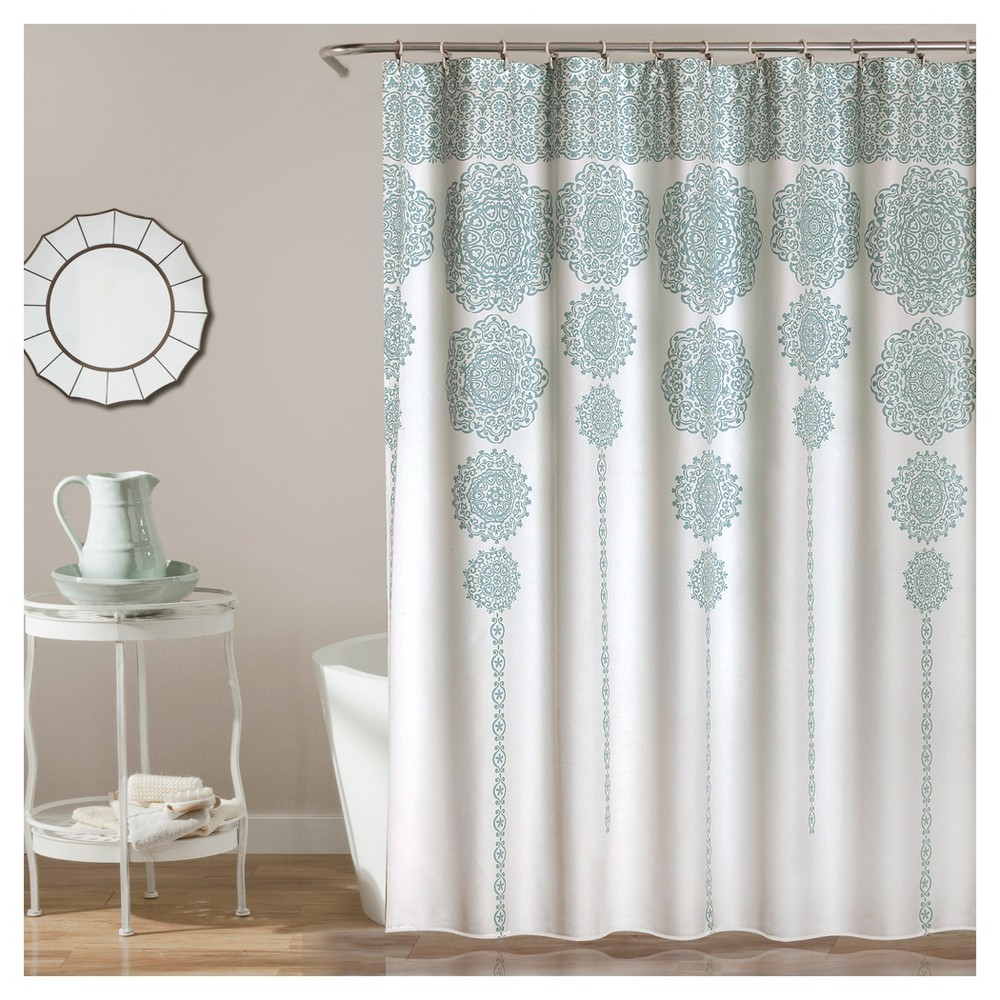 Stripe Medallion Shower Curtain Blue 72 X72 Lush Decor