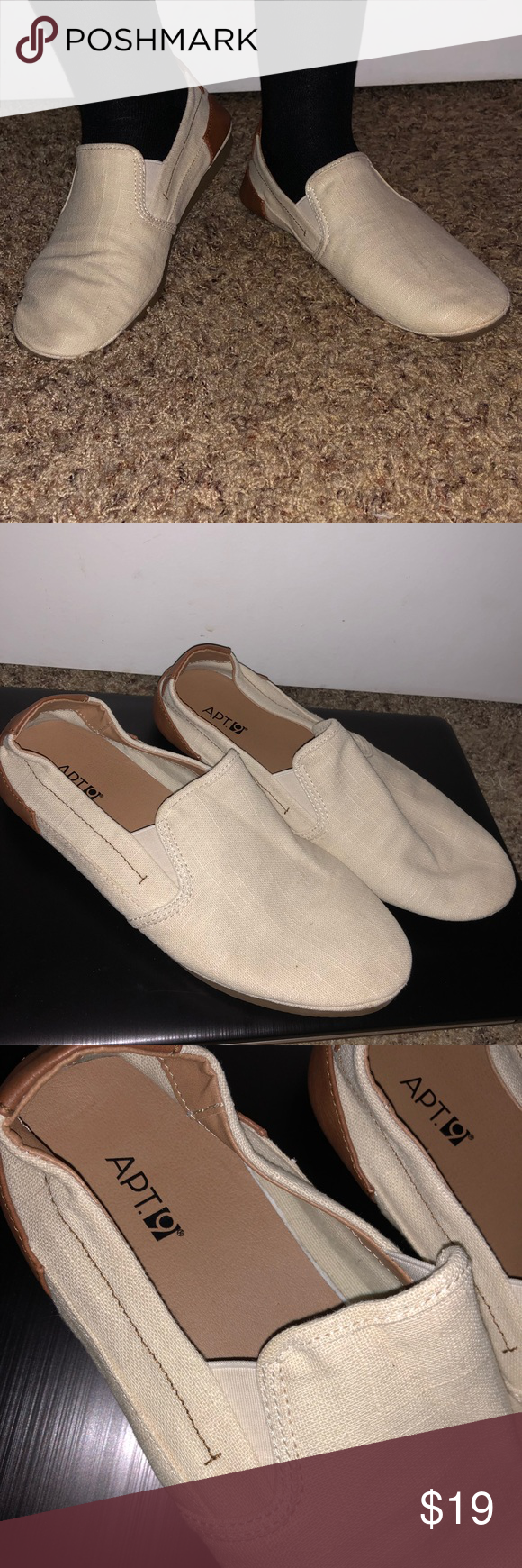 Apt 9 Slip On Canvas Loafers Cream Colored Shoes Backing Is Brown Leather Worn Maybe Once 8 5 Men S Ons