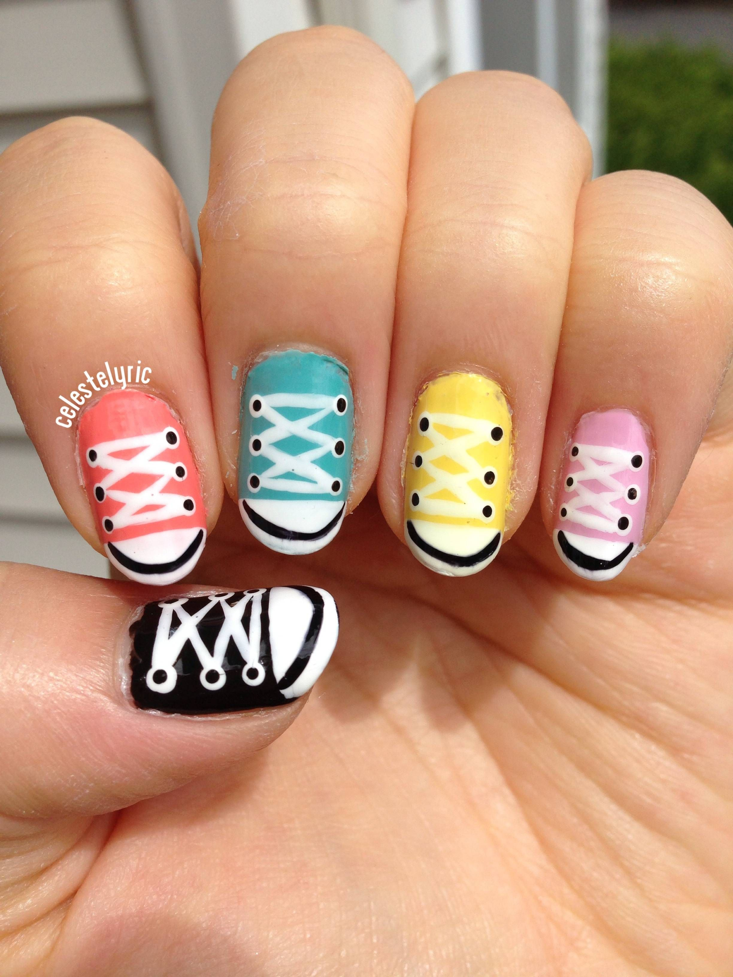 Converse nails! by bunnygif to RedditLaqueristas