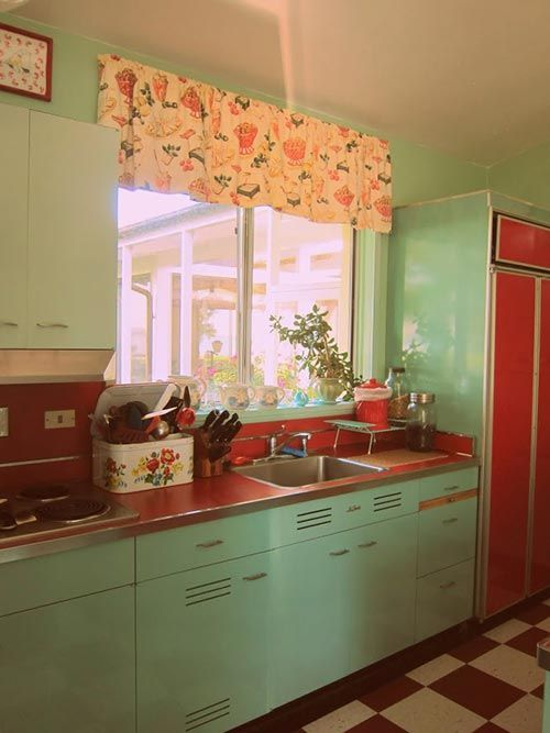Nancy S Metal Kitchen Cabinets Get A Fresh Coat Of Paint And Lots New Red Accents
