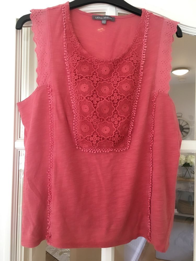 fa3e3509cbfd4 ladies pretty pink top with lace from Laura Ashley size 14  fashion   clothing  shoes  accessories  womensclothing  tops (ebay link)