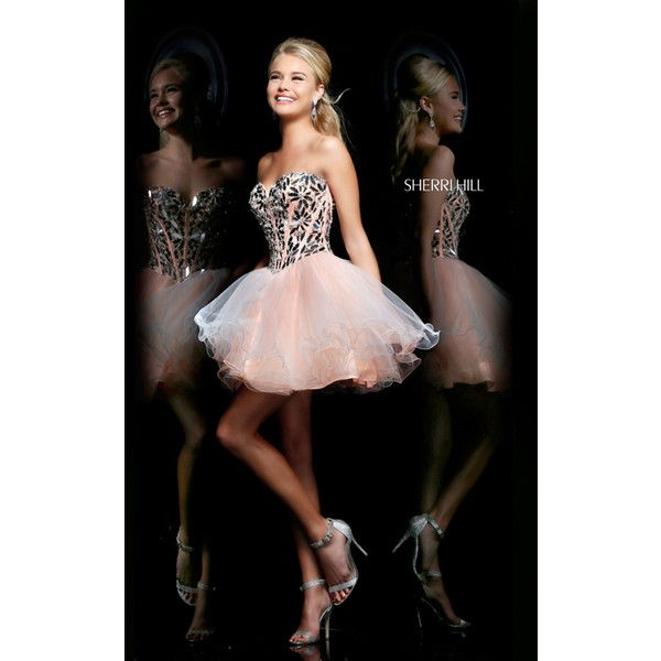 Corset Sherri Hill 11131 Peach Short Homecoming Dress ($249) via Polyvore  featuring dresses,