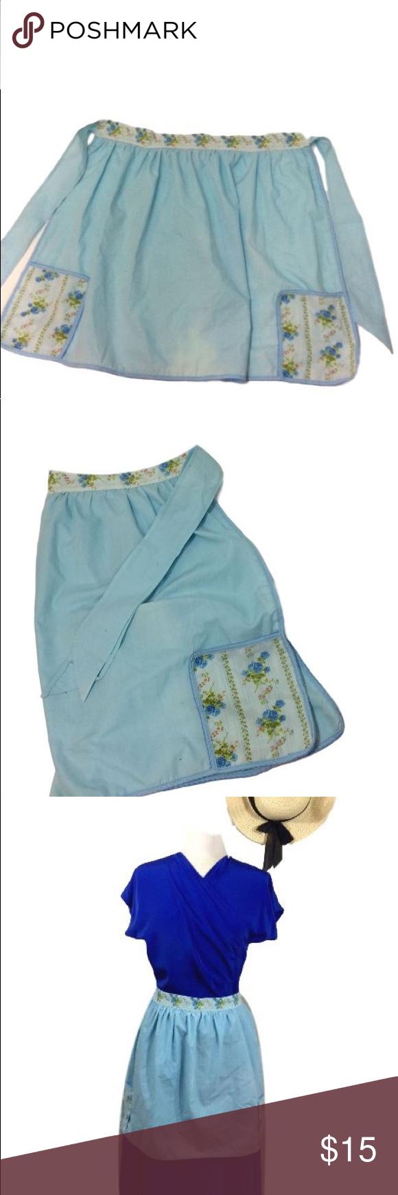 Vintage Blue Floral Print Half Apron
