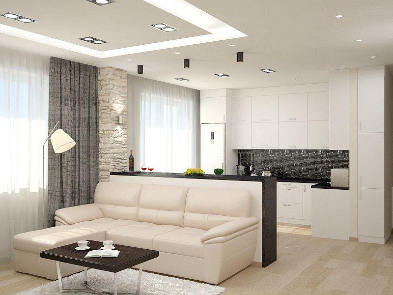 современная кухня гостиная   Современные белые кухни ...