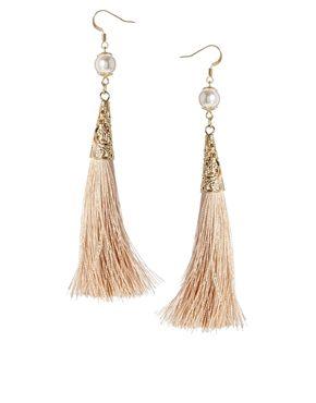 Pendientes con borla de perlas de imitación de edición limitada