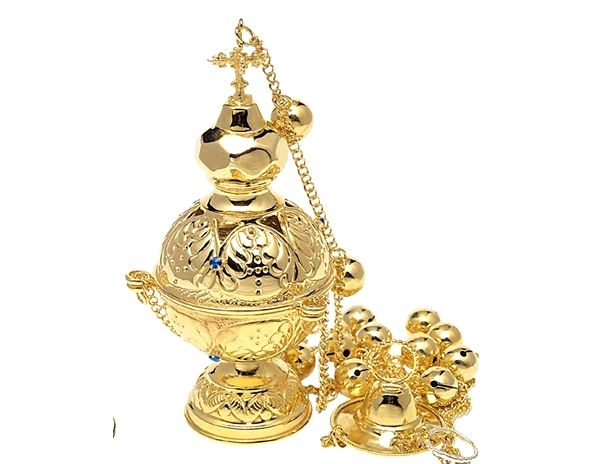 Lamps Chalices Orthodox Incense Burner With Gem Stones Hellenic Art Incense Burner Incense Gemstones