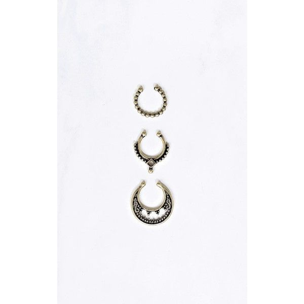 Kendall Three Piece Septum Ring Set 699 liked on Polyvore