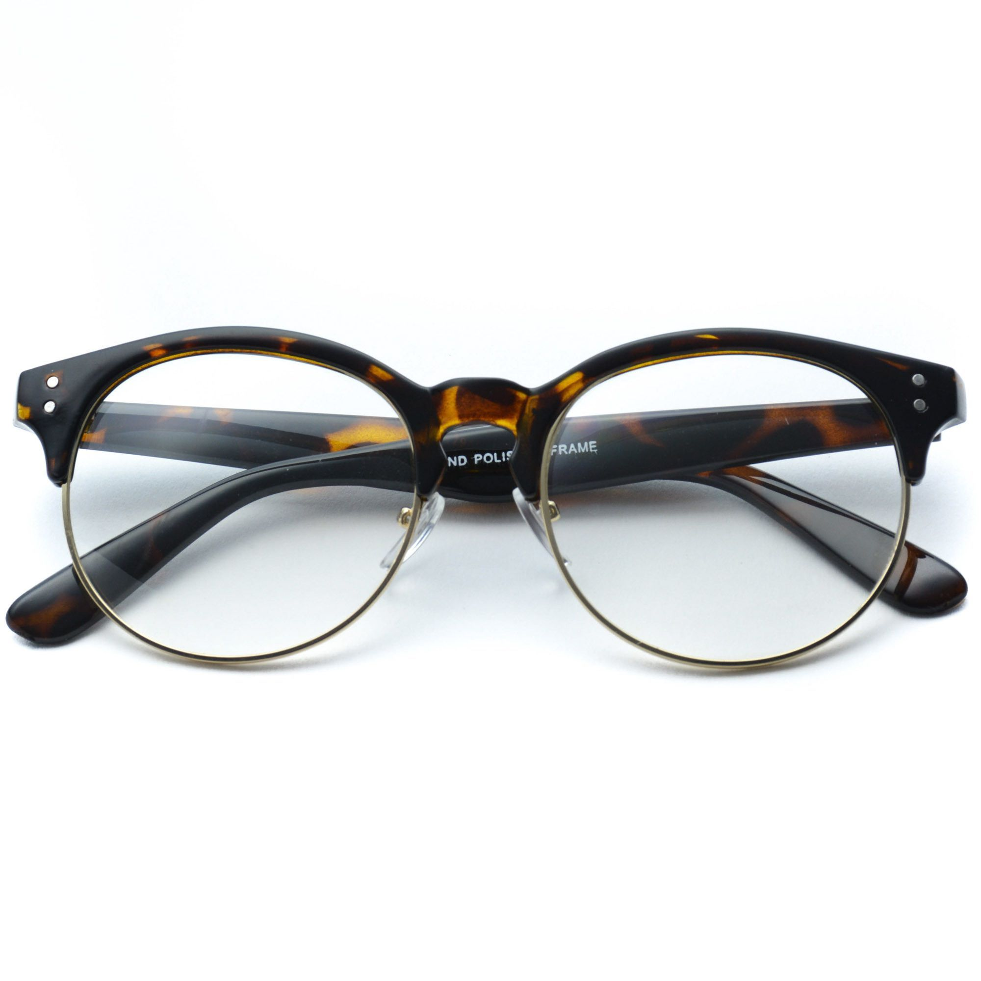 Winter Clear Half Frame Round Retro Non Prescription Glasses ...