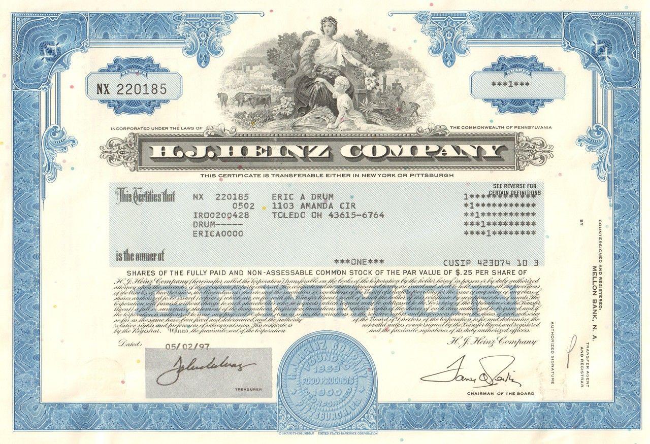 H J Heinz Company Stock Certificate 1997 Ketchup Stock Certificates Common Stock Leveraged Buyout