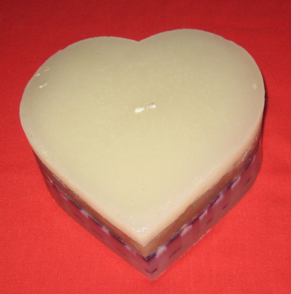"""HEART Candle Purple White Large 8"""" x 7.5"""" Love Huge Romance Valentine's Day New #Unbranded"""