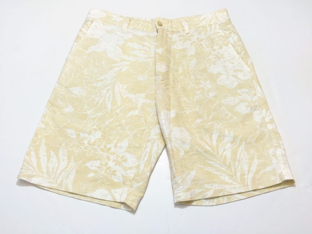 Tori Richard 34 Mens Linen Cotton Blend Shorts Beige Khaki Floral Print Hawaiian #ToriRichard #CasualShorts