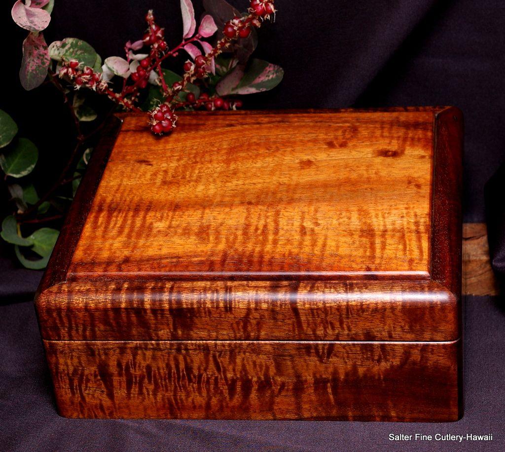 Mens Jewelry Box of Hawaiian curly koa wood Customized interior to
