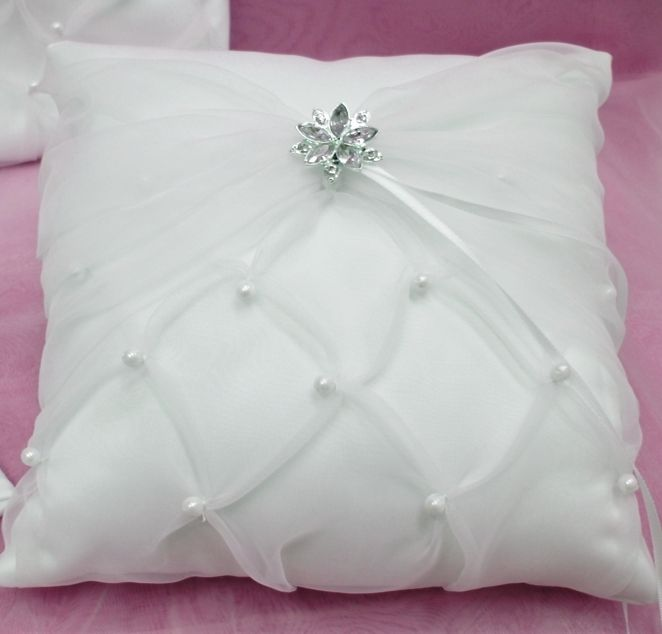 Crystal & Organza White or Ivory Ring Pillow