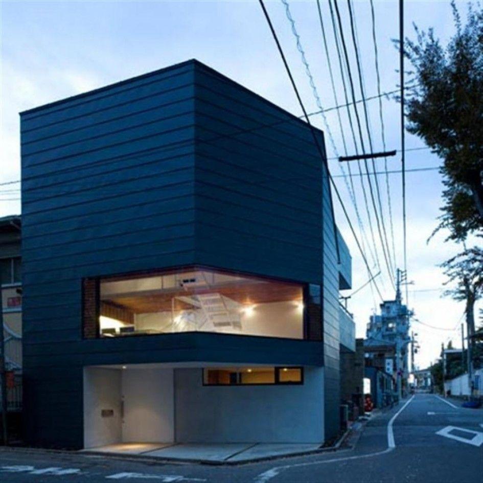 Home Design, Japanese Modern Small House Plan Unusual Vertical Shape:  Modern Minimalist Small House