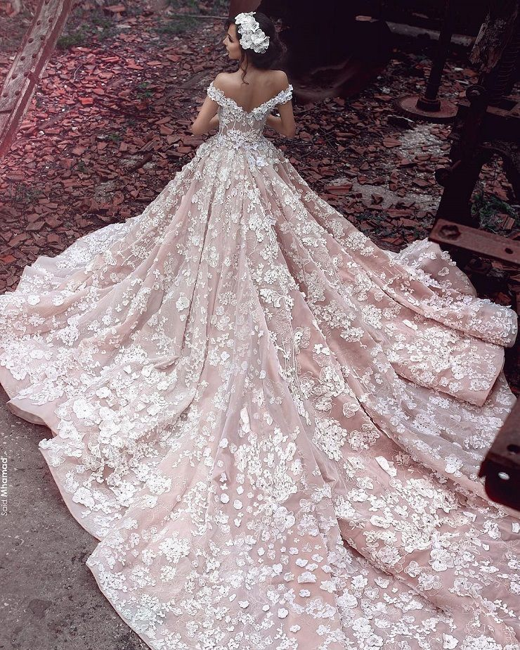Fairy Tale Wedding Dress in Pink with 3D Florals | Princess Wedding Dress | fabmood.com #weddinggown #weddingdress #fairytale #ballgown #princessgown #bride #bridaldress