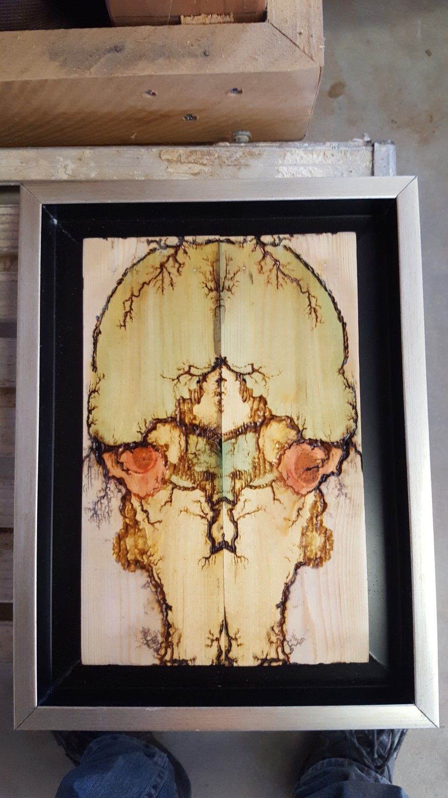 Reclaimed wood wall art. Fractal burning and food color. | unique ...