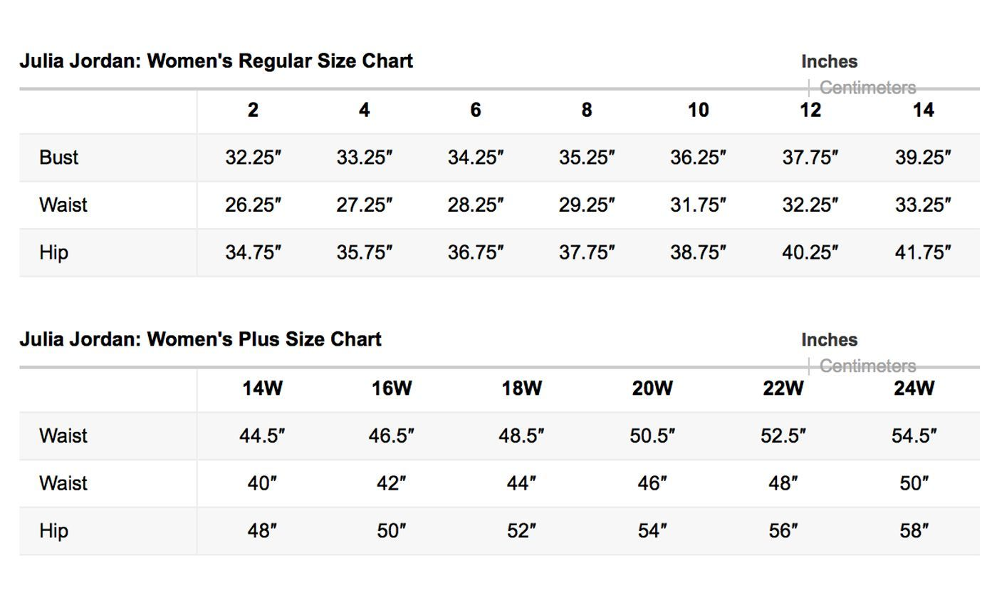 Julia jordan size chart brand name plus size charts pinterest