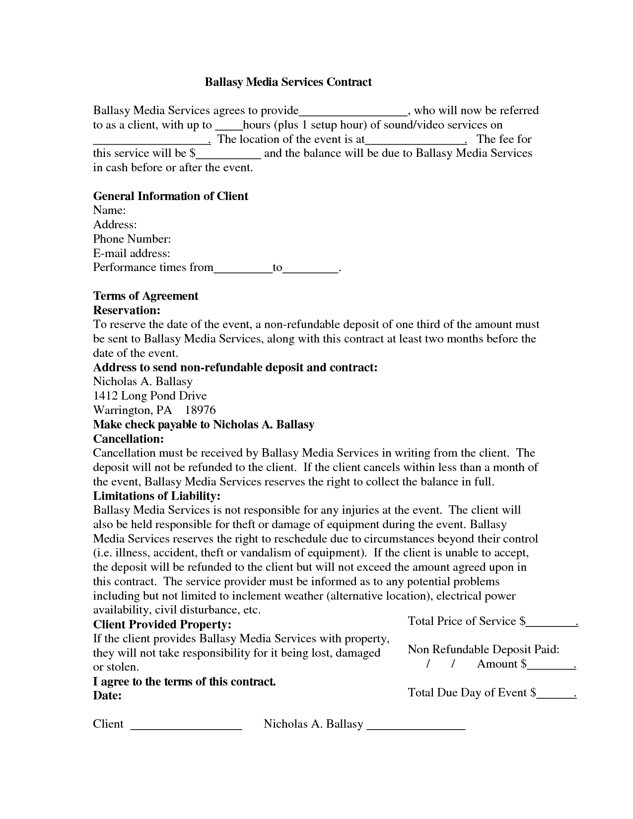 Wedding Dj Contract Templateregularmidwesterners  Resume And