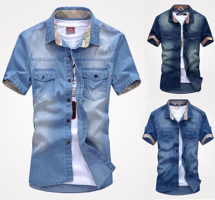 New Men/'s Jeans Short Sleeve Casual Slim Stylish Wash Vintage Denim Shirts Tops