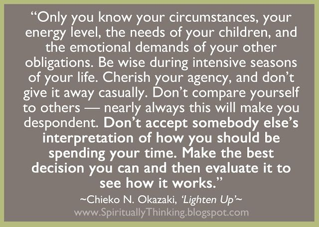 """It's Up to You quote, """"Only you know your circumstances, your energy level, the needs of your children, and the emotional demands of your other obligations. Be wise during intensive seasons of your life. Cherish your agency, and don't give it away casually. Don't compare yourself to others...""""   More @ http://spirituallythinking.blogspot.com/#ixzz1sFnVAGol"""
