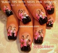 Nail-art by Robin Moses: hot neon pink and black nails, mint green nails with roses, sky blue nails with roses, gothic emo beautiful summer nail art designs