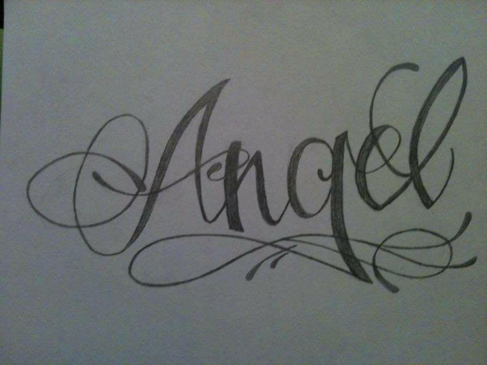Dibujo Hecho A Lapiz Tatuaje Con El Nombre De Angel Tatuajes De Nombres Dibujos Hechos A Lapiz Angeles Nombres