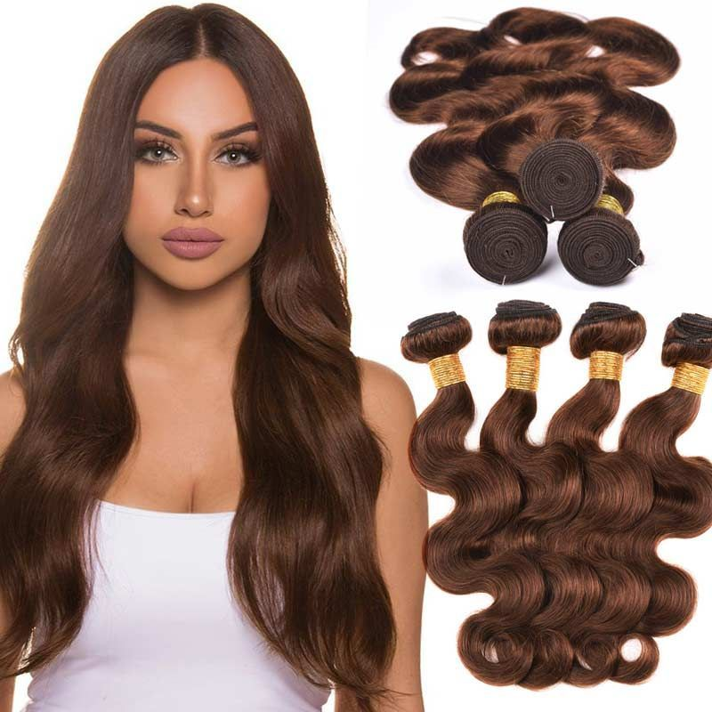 Brazilian Human Hair 4# Midium Brown Hair Color Weaving Body Wave 4 Bundles Brazilian Human Hair 4# Midium Brown Hair Color Weaving Body Wave 4 Bundles Brown Things brown color weave