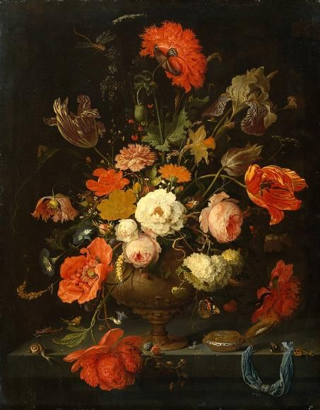 """I will always be partial to incredibly detailed still life paitings...(""""Still Life with Flowers and Watch""""---Abraham Mignon)"""
