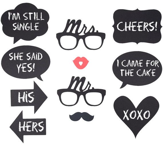Wedding Photo Props Ideas: Wedding PhotoBooth Prop Set Of Mr. And Mrs. Glasses By