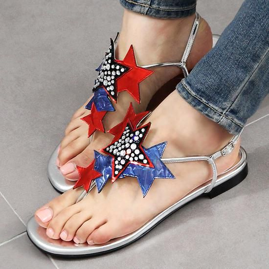 Star flat thong sandals-1cm At Jgshoe.com huge selection small ...