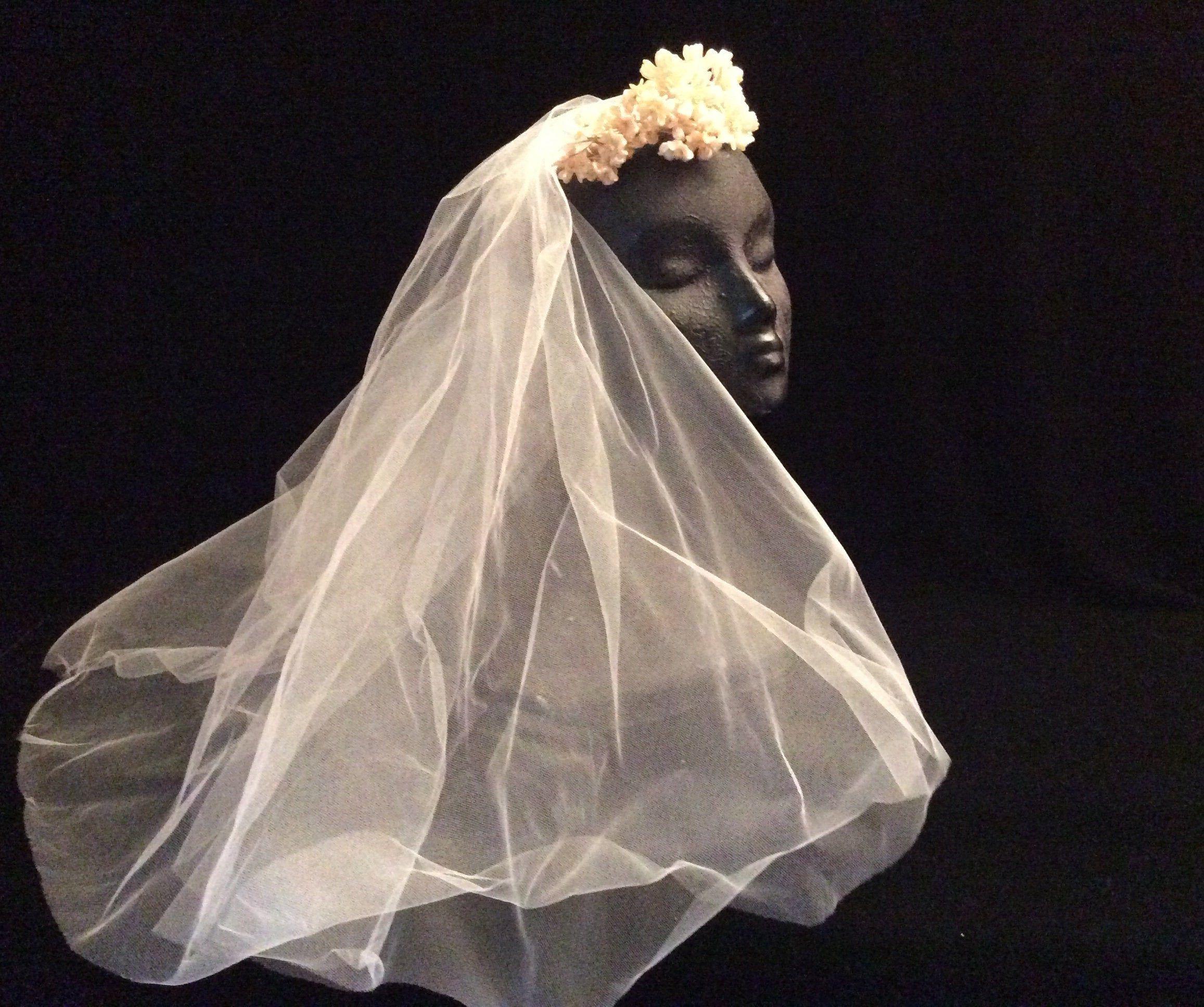 Antique Wax Flowers On Tulle Bridal Veil Vintage Wax Flowers Vintage Wedding Veil With Wax Vintage Veils Bridal Bridal Veils And Headpieces Tulle Bridal Veil