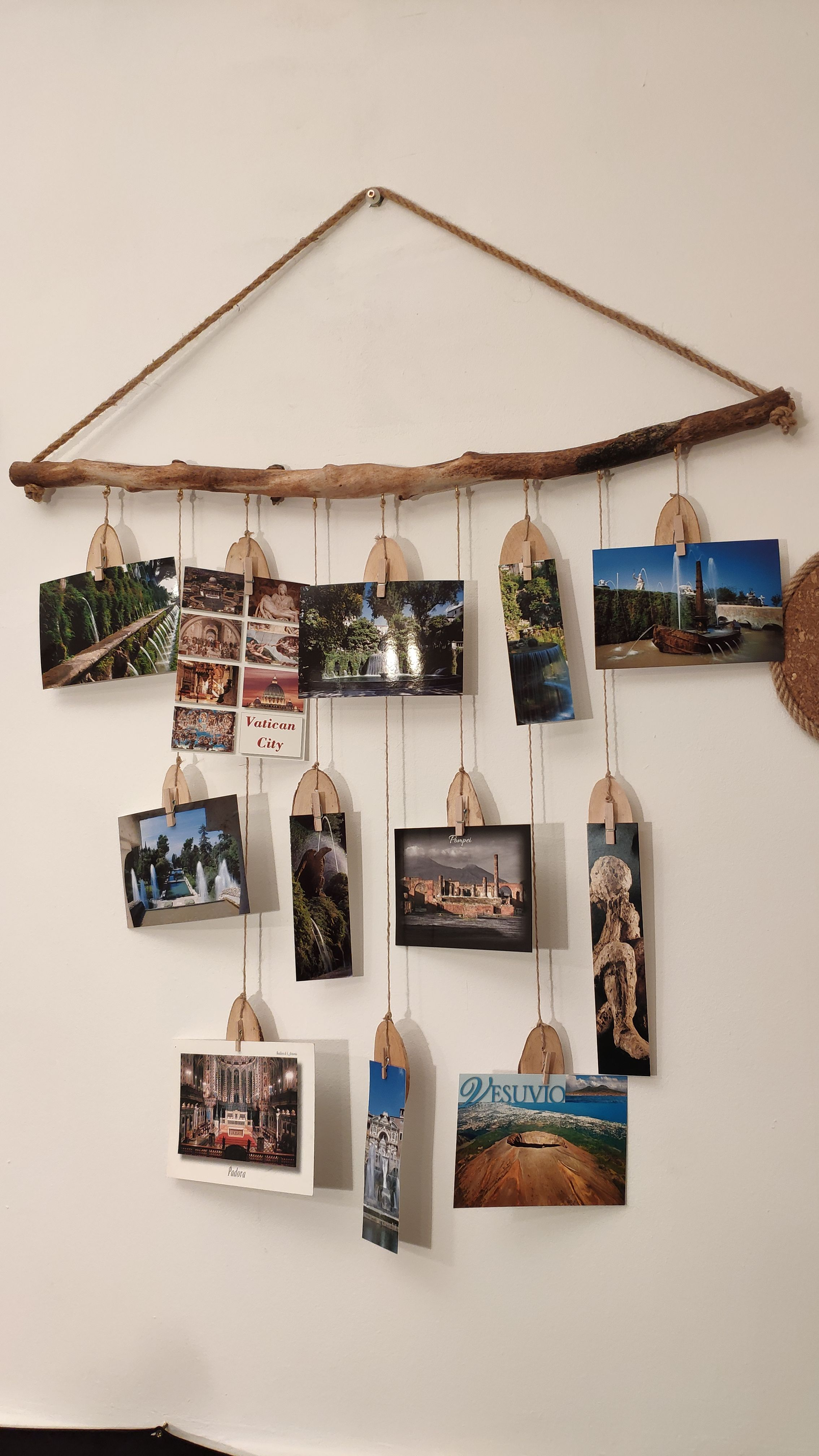 Wooden branch photo holder