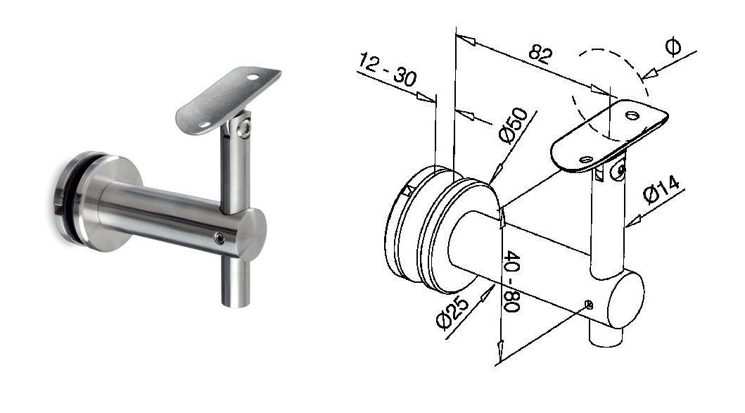 Best Glass Handrail Bracket For Round Toprail Adjustable 400 x 300