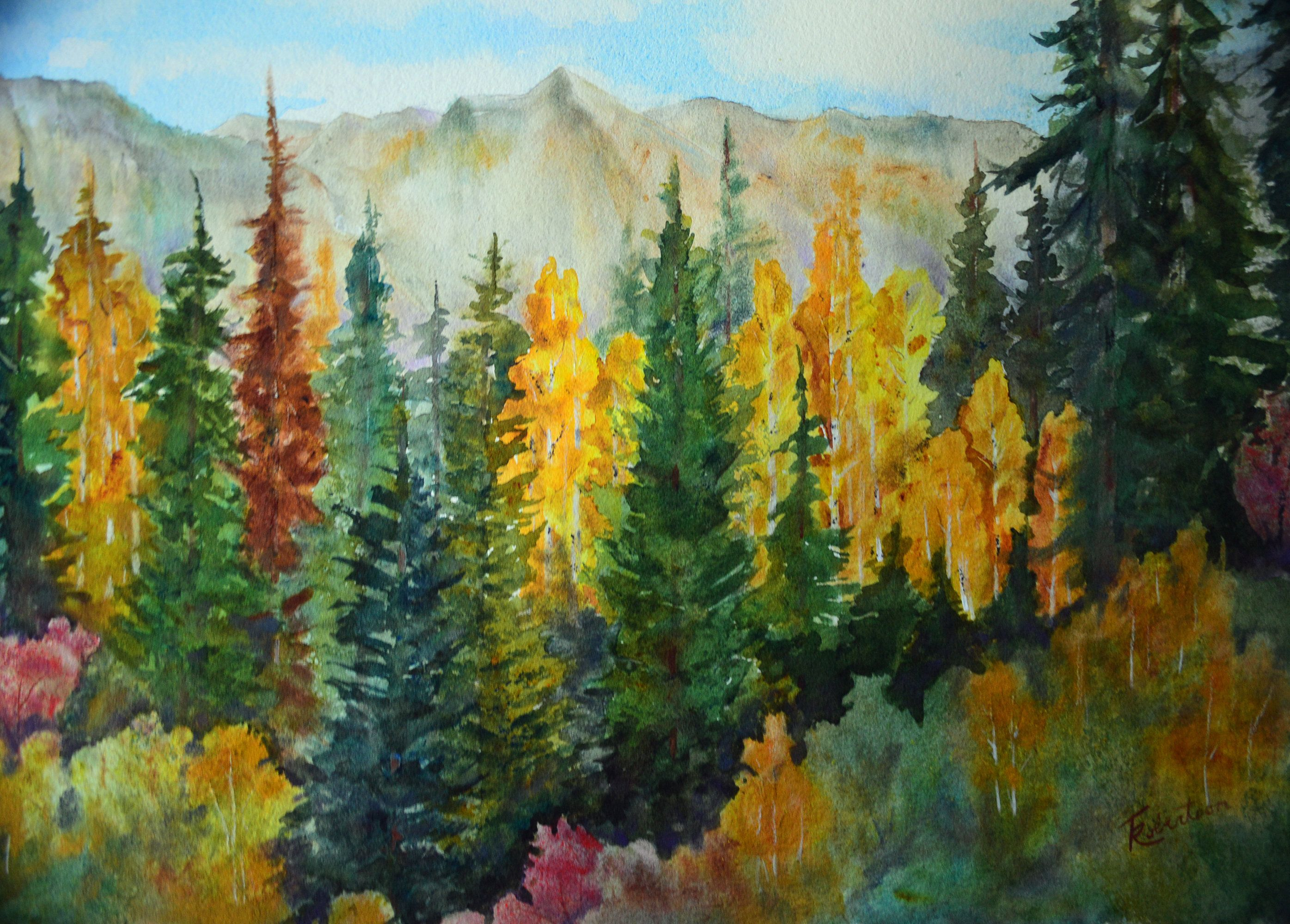 Original Watercolor And Pastel Fall Landscape Paintings Colorado Mountain Painting Cabin Tree Watercolor Painting Etsy Painting Mountain Landscape Painting