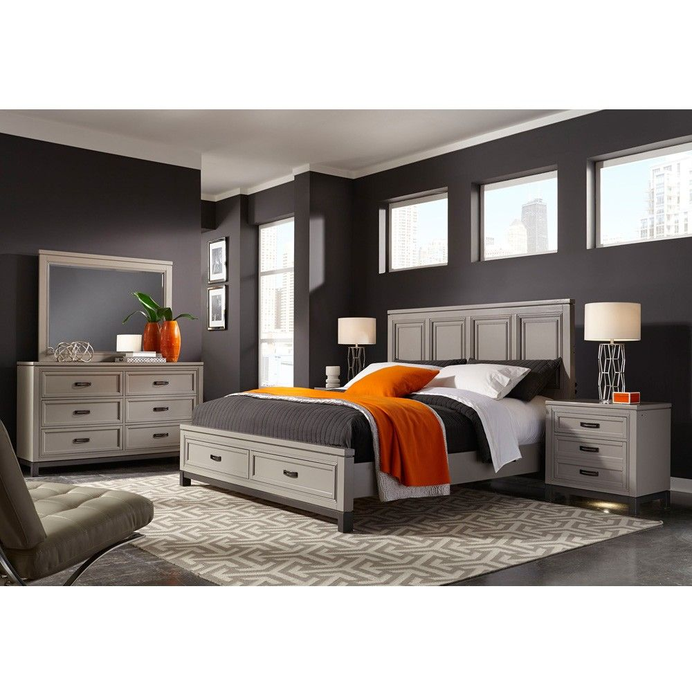 Quality Bedroom Furniture Brands: Aspenhome's Hyde Park Wood Panel Storage Bed In Grey By