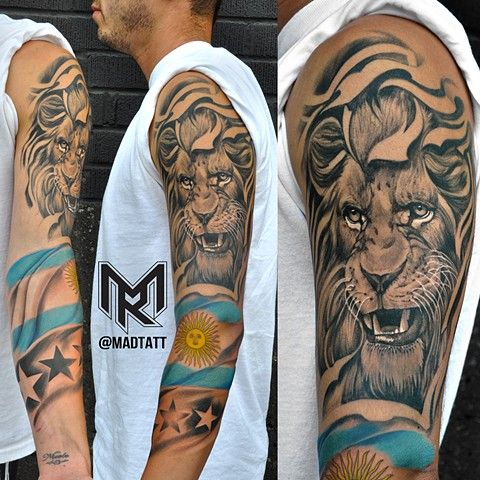 Argentina Lion Sleeve Tats Pinterest Lion Tattoo Design Lion