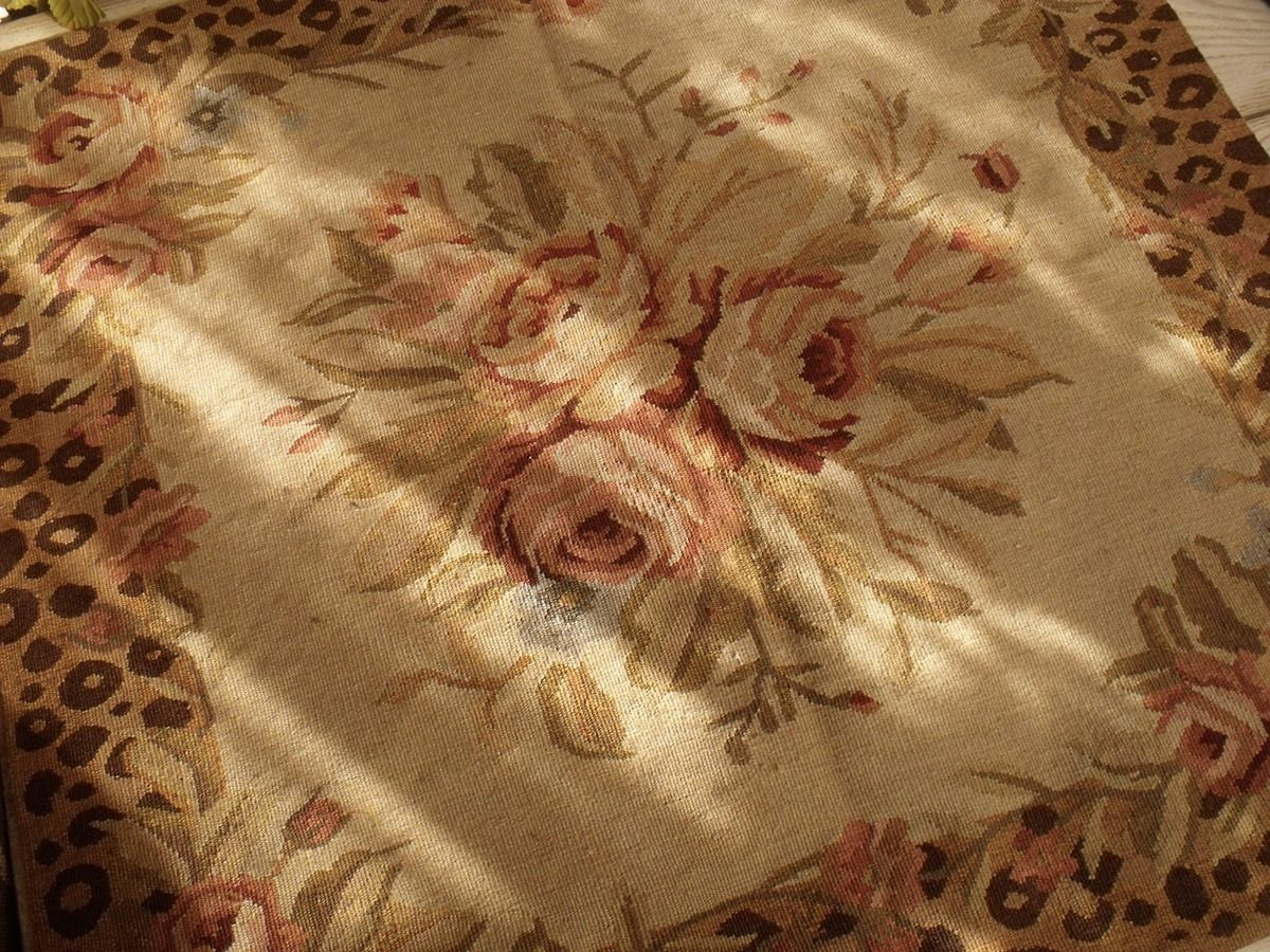 2 5 Vintage Chic Home Decor Animal Print Rose Bouquet French Aubusson Area Rug