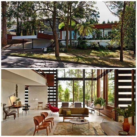 The Rippon House designed by the architect Gerry Rippon in 1969 and built in Wahroonga, suburbs of Sydney. Click on the image to see more modernist houses.