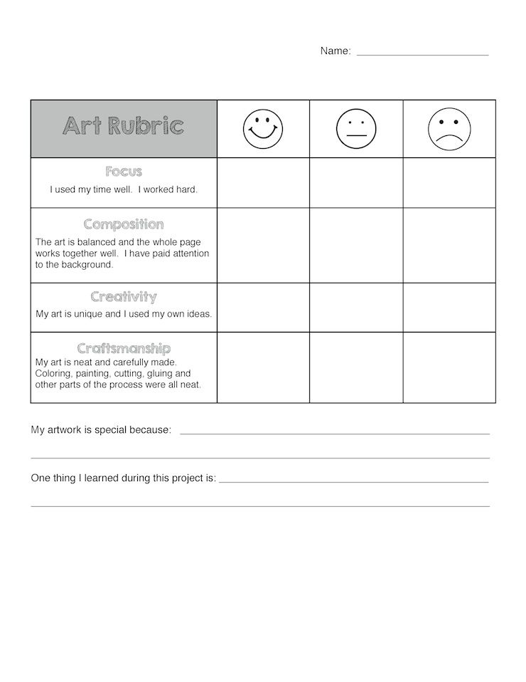 Art Rubric For Elementary  Art Rubric Rubrics And Sentences