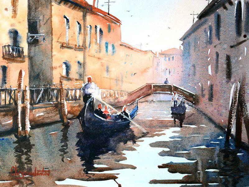 Venice Building Reflections Gondolas Bridge Over Canal
