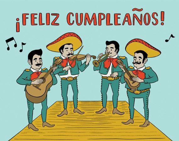 Feliz Cumpleanos Birthday Card Hand Illustration Item 808 Etsy Verjaardagskaart Fijne Verjaardag Grappig Verjaardagskaarten