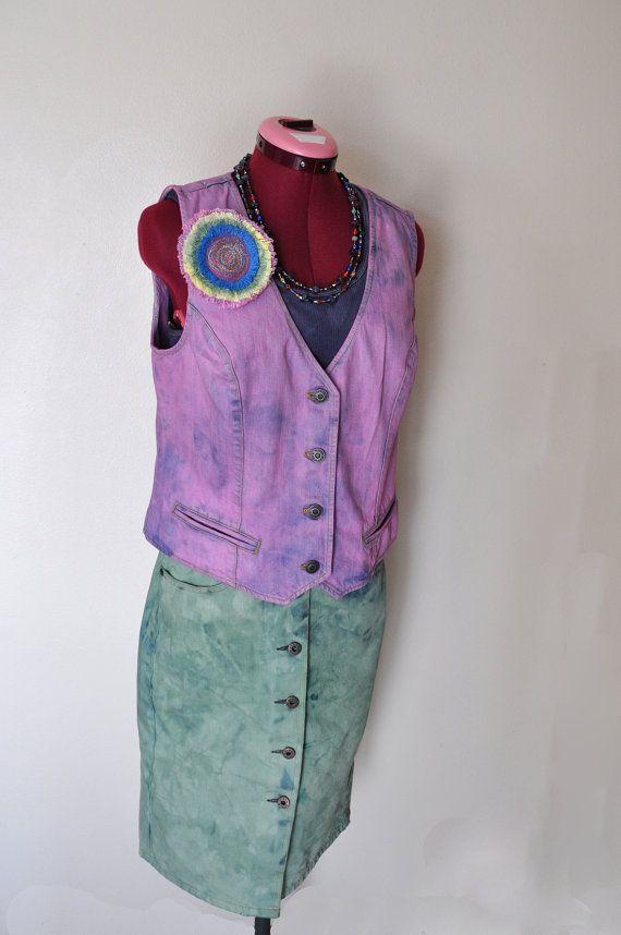 9e1689efb90 Pink Medium Denim VEST - Pastel Pink Hand Dyed Upcycled Talbots ...