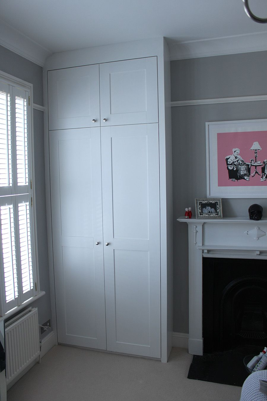 New doors for fitted wardrobes - Pair Of An Alcove Fitted Wardrobes Either Side Of The Chimney Made With Shaker Doors And Separate Cupboard Doors At The Top Installed And Painted For Our