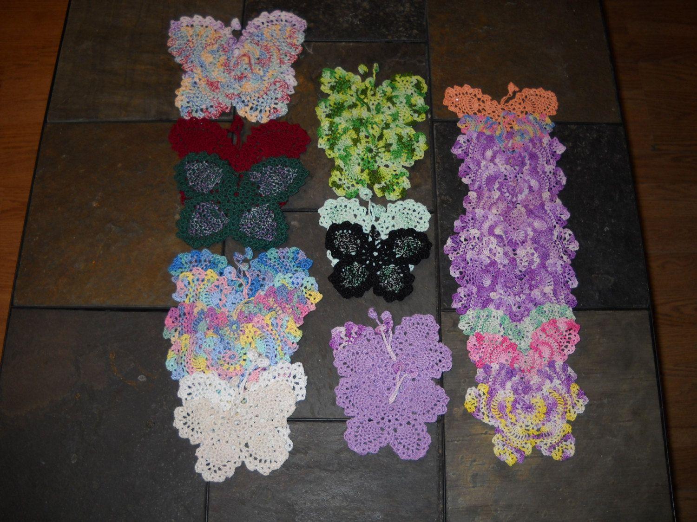 Clearance 31 Crochet Butterflies Bookmark Applique Doily Variety ...