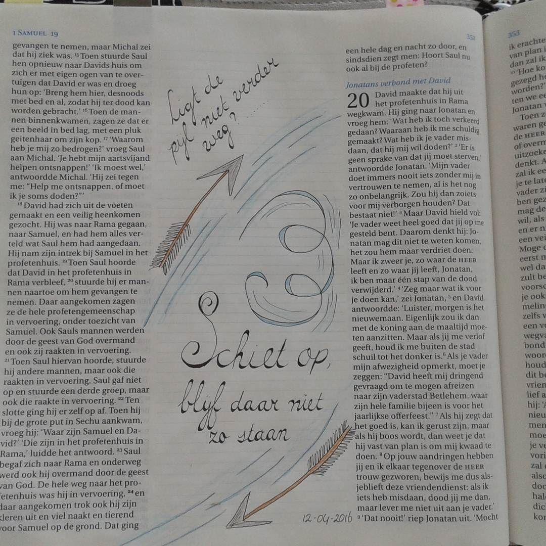 Weer een stukje uit Davids leven.... Zijn vlucht voor Saul en de hulp van Jonathan...  #David #biblejournaling #handlettering #stilletijd #devotionaltime #geloof #1samuel20 #Samuel #biblejournalingnl #bibleart #biblejournalinggroep #biblejournalingcommunity http://ift.tt/1KAavV3
