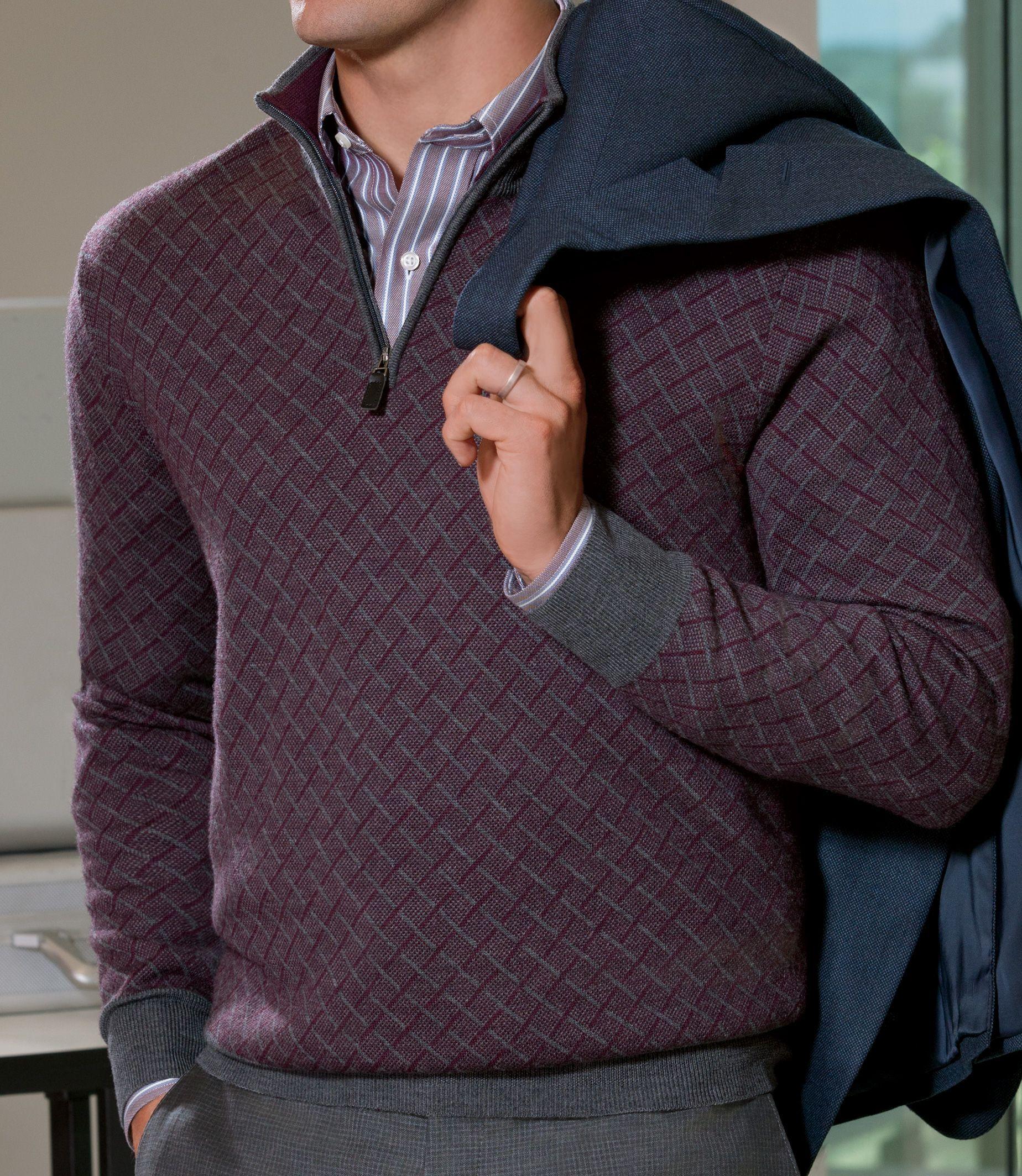 Signature Collection Merino Wool Birdseye Quarter Zip Sweater Clearance Half Zip Sweaters Casual Wear For Men Knitwear Men