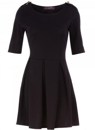 Black Belted Dress With Three Quarter Length Sleeves Dress Quarter